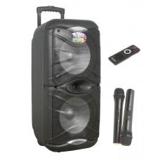 Колонка комбик на АКБ с двумя микрофонами 300-350 Вт