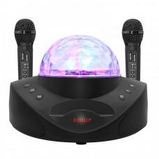 Караоке система на два микрофона с LED Диско-шаром SDRD SD-308 black