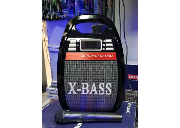 Автономная акустика на АКБ с микрофоном и USB X-BASS