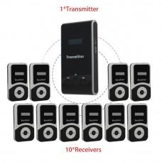 Радиогид комплект 1 передатчик и 10 приемников.